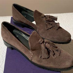 Stuart Weitzman suede loafers w tassels